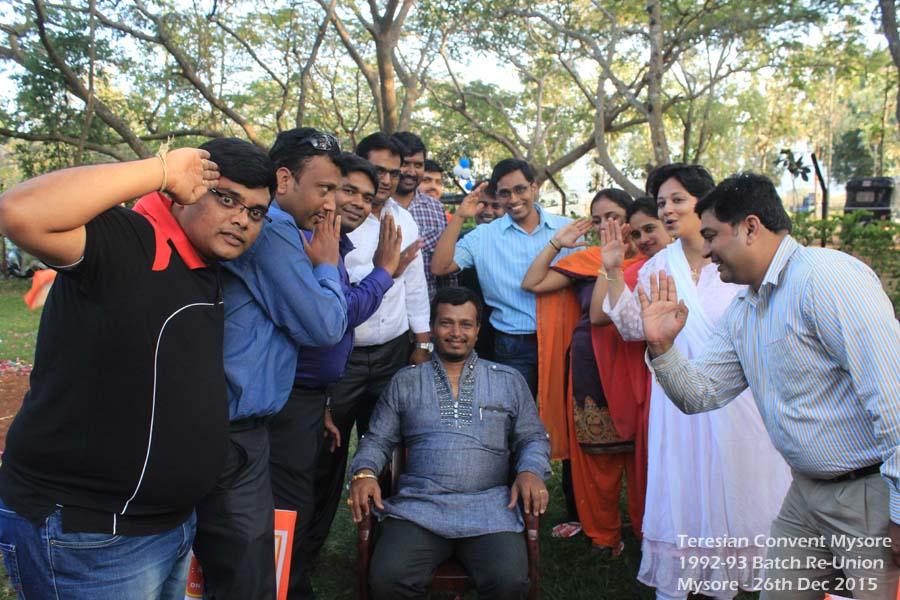 Friends saluting Bhaskar